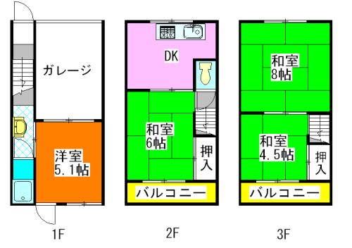 河内小阪の平均的な賃料の貸家の間取り図