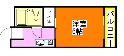 最も賃料の低い小阪の1K賃貸物件の間取り