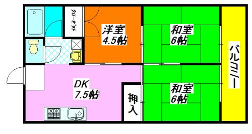 河内小阪の最も賃料が低い貸家(3DK)の間取り図