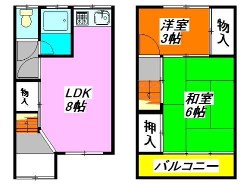 河内小阪の最も賃料が低い貸家(2LDK)の間取り図