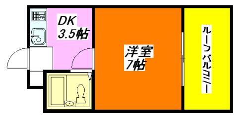 河内小阪の最も賃料が低い1DK賃貸の間取り図