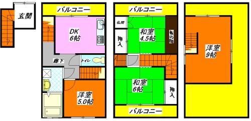 河内小阪の最も賃料が低いテラスハウスの間取り図