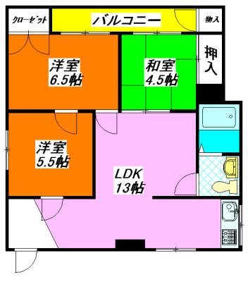 河内小阪の最も賃料が低い貸家(3LDK)の間取り図