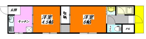 河内小阪の最安値の2DK(貸家)賃貸の間取り図