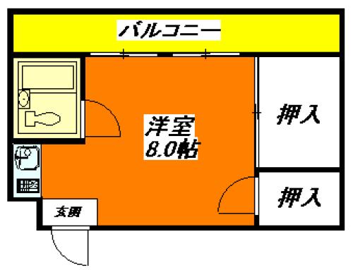 河内小阪の平均家賃(ワンルームのみ)の賃貸物件の間取り