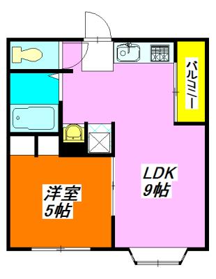 河内小阪の平均的な賃料の1LDK賃貸の間取り図