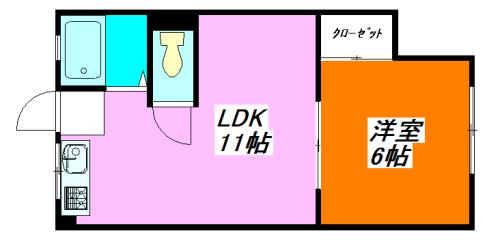 河内小阪の最も賃料が低い1LDK賃貸の間取り図
