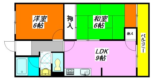 河内小阪の平均的な賃料の2LDK賃貸の間取り図